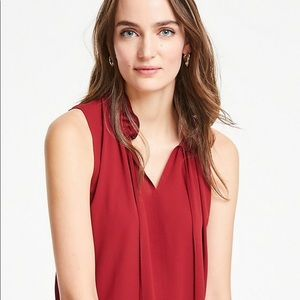 NWOT Ann Taylor DOUBLE RUFFLE TIE NECK SHELL